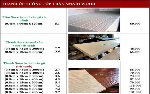 go nhan tao Smartwood SCG 10 600x375 - Giá gỗ nhân tạo smartwood SCG ốp tường, trần, lót sàn, sỉ và lẻ rẻ nhất 2021